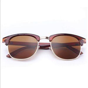 Clubmaster Sunglasses Brown Frame Lens Polarized